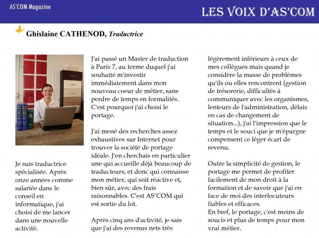 article presse ghislaine traductrice